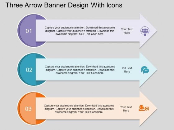 Three Arrow Banner Design With Icons Powerpoint Template