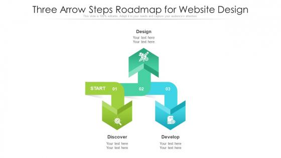 Three Arrow Steps Roadmap For Website Design Ppt PowerPoint Presentation File Good PDF