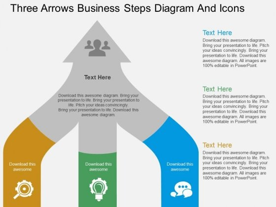 Three Arrows Business Steps Diagram And Icons Powerpoint Template