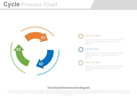 Three Arrows Cycles Process Chart Powerpoint Slides