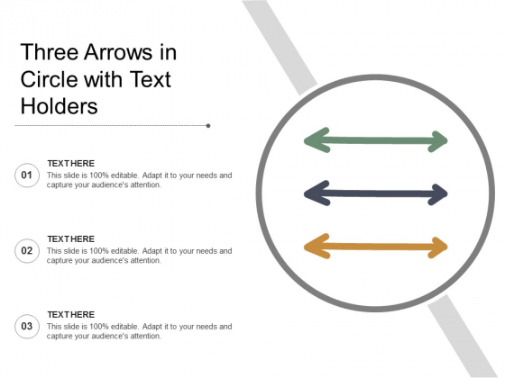 Three Arrows In Circle With Text Holders Ppt PowerPoint Presentation Show Icon
