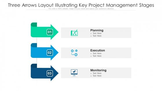 Three Arrows Layout Illustrating Key Project Management Stages Ppt PowerPoint Presentation Gallery Icons PDF