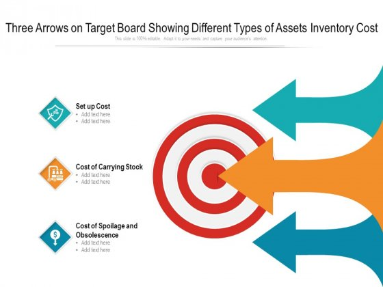 Three Arrows On Target Board Showing Different Types Of Assets Inventory Cost Ppt Powerpoint Presentation Model Background Designs Pdf