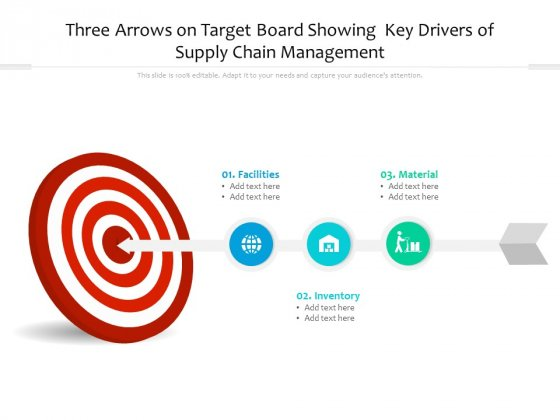 Three Arrows On Target Board Showing Key Drivers Of Supply Chain Management Ppt Powerpoint Presentation Infographics Shapes Pdf