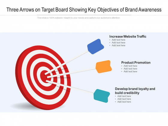 Three Arrows On Target Board Showing Key Objectives Of Brand Awareness Ppt Powerpoint Presentation Portfolio Master Slide Pdf