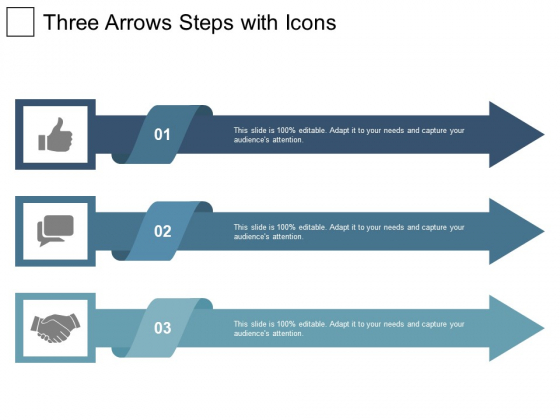 Three Arrows Steps With Icons Ppt PowerPoint Presentation Infographic Template Show