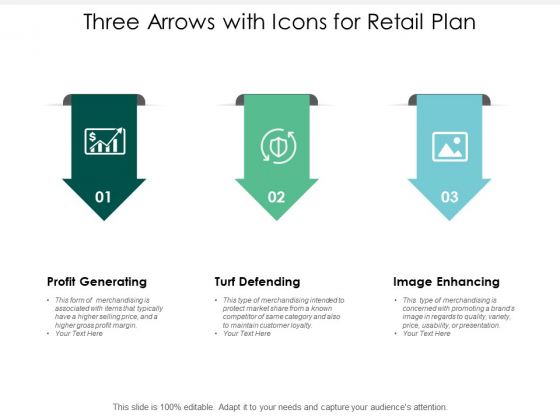Three Arrows With Icons For Retail Plan Ppt PowerPoint Presentation Icon Infographics