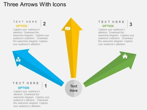Three Arrows With Icons Powerpoint Templates