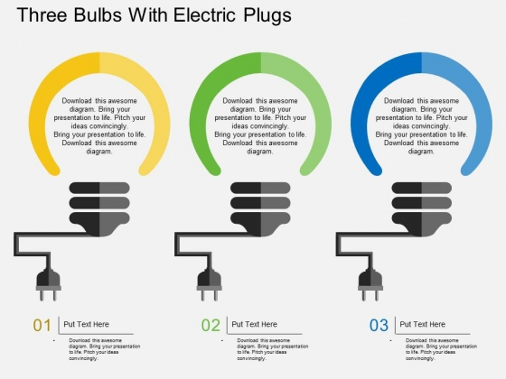 Three Bulbs With Electric Plugs Powerpoint Template