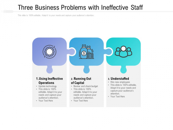 Three Business Problems With Ineffective Staff Ppt PowerPoint Presentation Pictures Graphics