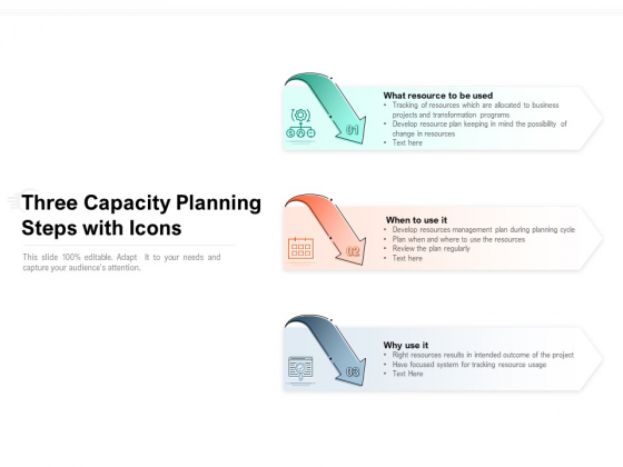 Three Capacity Planning Steps With Icons Ppt PowerPoint Presentation Pictures Inspiration