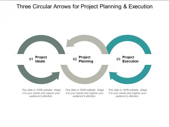 Three Circle Arrows For Project Planning And Execution Ppt PowerPoint Presentation Icon Rules