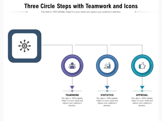 Three Circle Steps With Teamwork And Icons Ppt PowerPoint Presentation Gallery Good PDF
