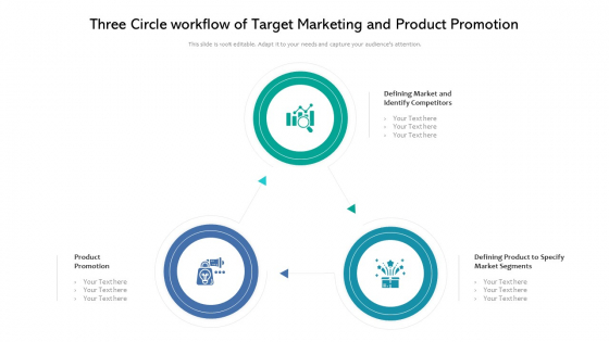 Three Circle Workflow Of Target Marketing And Product Promotion Ppt PowerPoint Presentation Icon Model PDF
