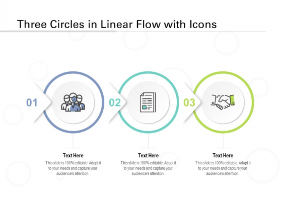 Three Circles In Linear Flow With Icons Ppt PowerPoint Presentation Infographics Microsoft