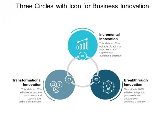 Three Circles With Icon For Business Innovation Ppt PowerPoint Presentation Ideas Graphics Download