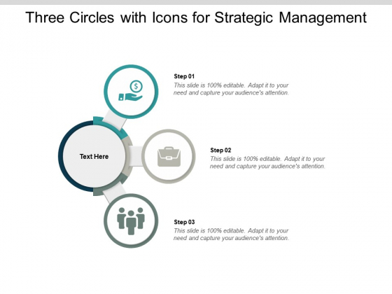 Three Circles With Icons For Strategic Management Ppt PowerPoint Presentation Infographics Deck
