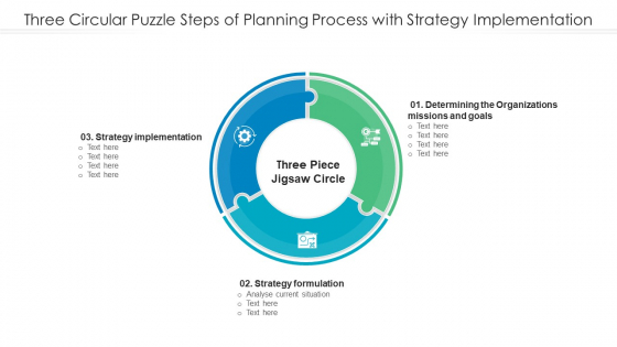 Three Circular Puzzle Steps Of Planning Process With Strategy Implementation Rules PDF
