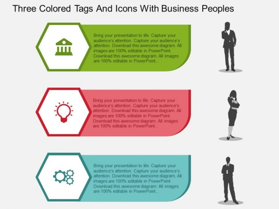 Three Colored Tags And Icons With Business Peoples Powerpoint Templates