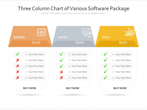 Three Column Chart Of Various Software Package Ppt PowerPoint Presentation Slides Show PDF