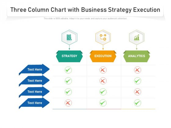Three Column Chart With Business Strategy Execution Ppt PowerPoint Presentation Icon Designs PDF