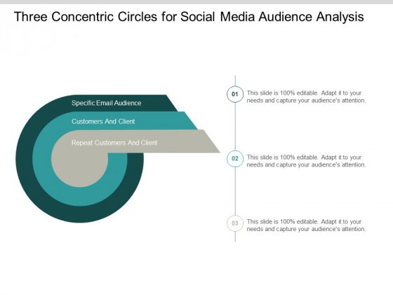 Three Concentric Circles For Social Media Audience Analysis Ppt PowerPoint Presentation Outline Ideas