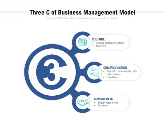 Three Cs Of Business Management Model Ppt PowerPoint Presentation Professional Graphics