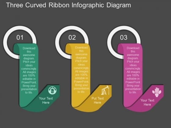 Three Curved Ribbon Infographic Diagram Powerpoint Template