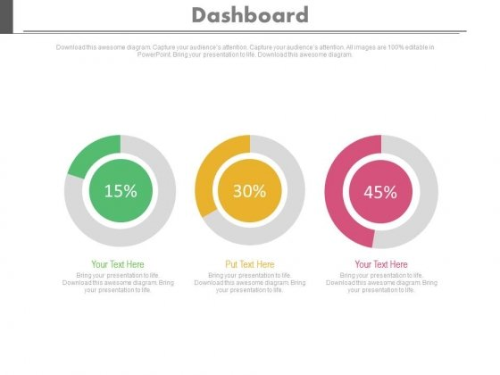 Three Dashboard With Percentage Value Growth Powerpoint Slides