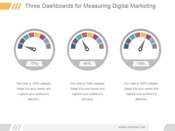 Three Dashboards For Measuring Digital Marketing Ppt PowerPoint Presentation Slide