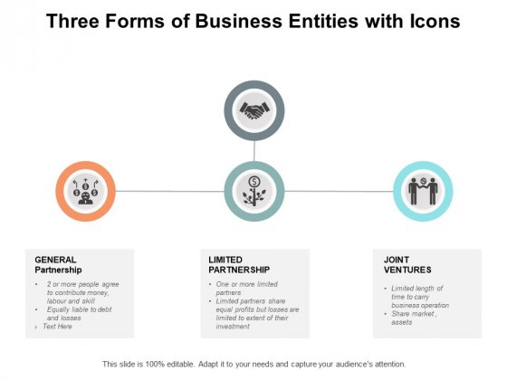 Three Forms Of Business Entities With Icons Ppt PowerPoint Presentation Summary Inspiration