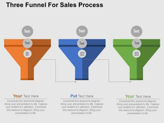 Three Funnel For Sales Process PowerPoint Templates