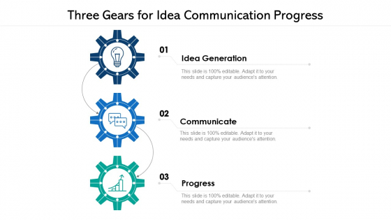 Three Gears For Idea Communication Progress Ppt PowerPoint Presentation File Skills PDF