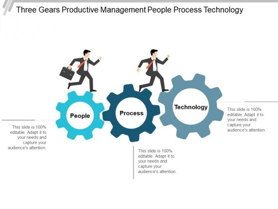 Three Gears Productive Management People Process Technology Ppt PowerPoint Presentation Inspiration Example Introduction