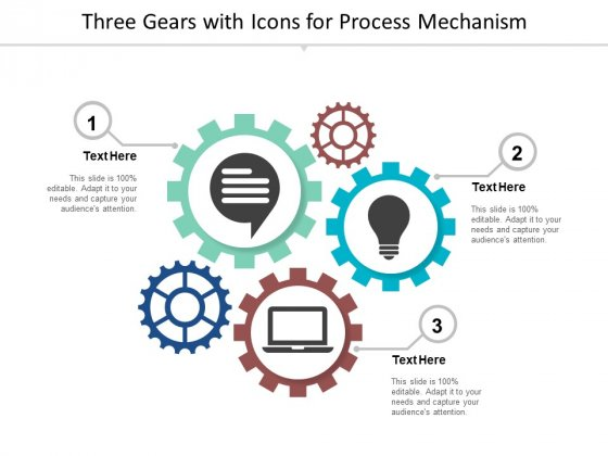Three Gears With Icons For Process Mechanism Ppt Powerpoint Presentation Ideas Good