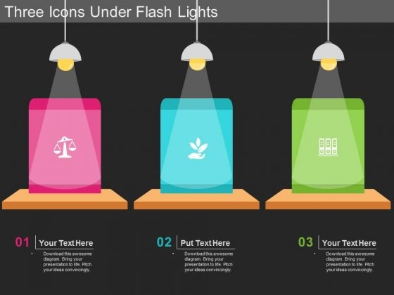 Three Icons Under Flash Lights PowerPoint Template