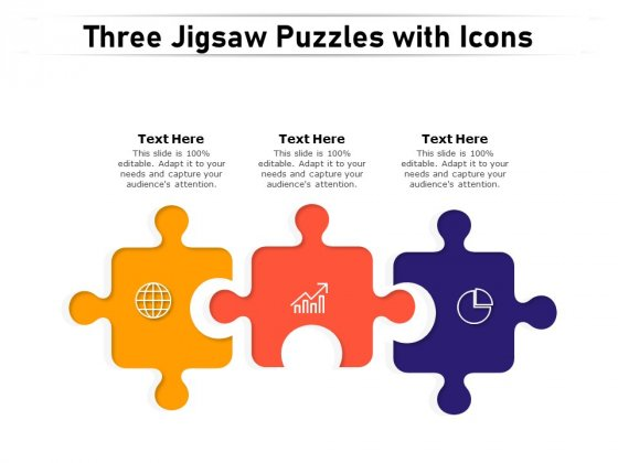 Three Jigsaw Puzzles With Icons Ppt PowerPoint Presentation Inspiration Templates PDF