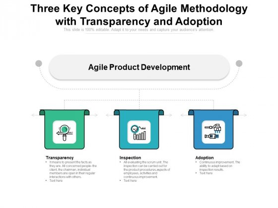 Three Key Concepts Of Agile Methodology With Transparency And Adoption Ppt PowerPoint Presentation Layouts Gallery PDF