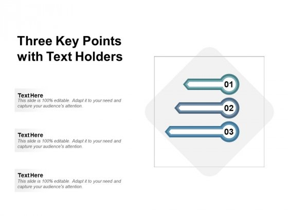 Three Key Points With Text Holders Ppt PowerPoint Presentation Show Format