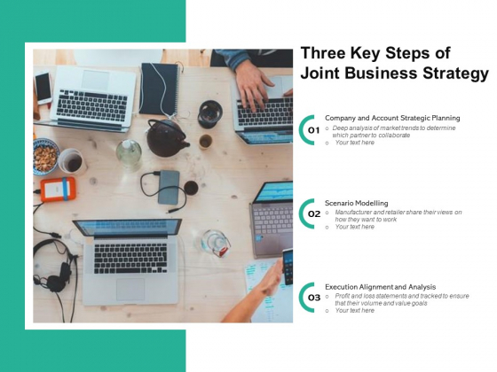 Three Key Steps Of Joint Business Strategy Ppt PowerPoint Presentation Gallery Slide Portrait PDF