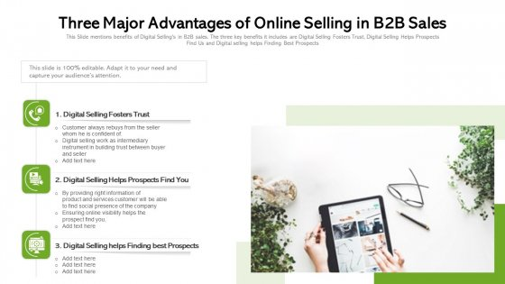 Three Major Advantages Of Online Selling In B2B Sales Ppt Gallery Portrait PDF
