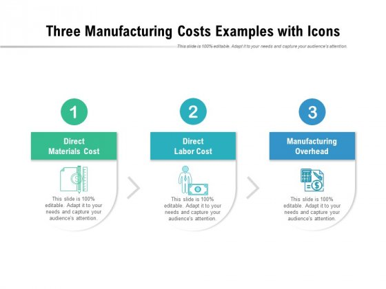 Three Manufacturing Costs Examples With Icons Ppt PowerPoint Presentation Visual Aids Background Images PDF