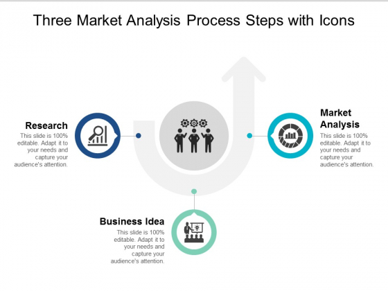 three market analysis process steps with icons ppt powerpoint presentation portfolio brochure