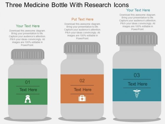 Three Medicine Bottle With Research Icons Powerpoint Template
