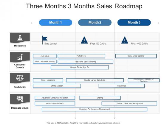 Three Months 3 Months Sales Roadmap Structure