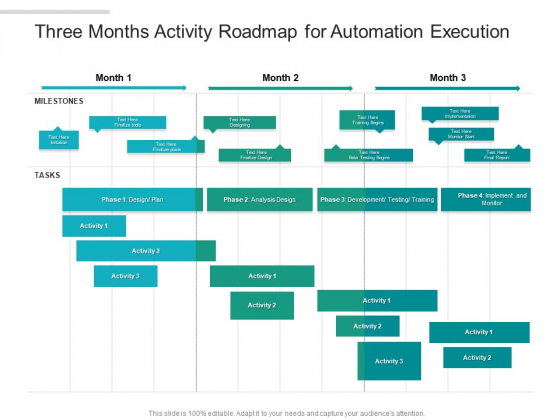 Three Months Activity Roadmap For Automation Execution Template