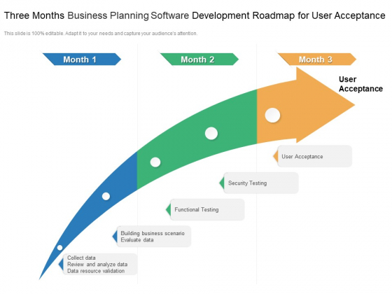 Three Months Business Planning Software Development Roadmap For User Acceptance Portrait