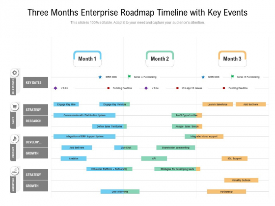 Three_Months_Enterprise_Roadmap_Timeline_With_Key_Events_Pictures_Slide_1