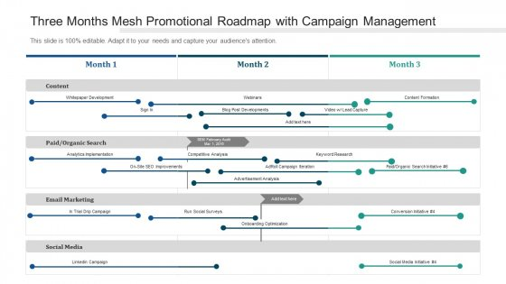 Three Months Mesh Promotional Roadmap With Campaign Management Diagrams
