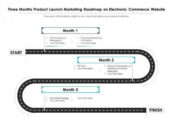 Three Months Product Launch Marketing Roadmap On Electronic Commerce Website Topics